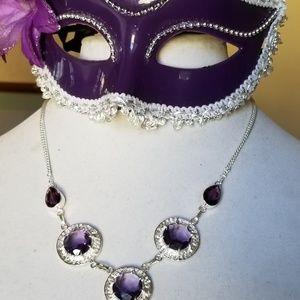 .925 Sterling Silver & Purple Amethyst Necklace